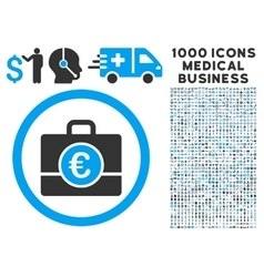 Euro Accounting Case Icon with 1000 Medical vector