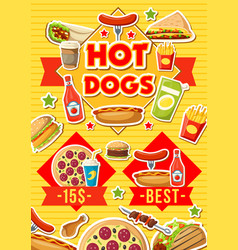 fast food hot dogs pizza and burgers menu vector image