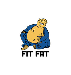fat person fitness logo designs inspiration vector image