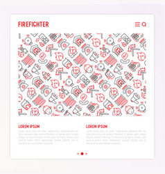 firefighter concept with thin line icons vector image
