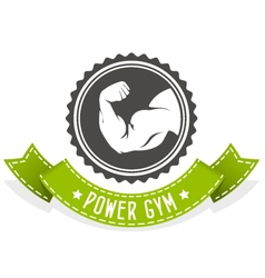 Fitness and bodybuilding emblem with muscleman vector image