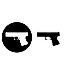 flat design pistol gun handgun revolver icon vector image