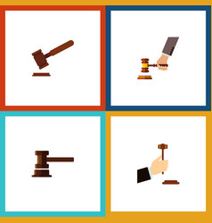 Flat icon hammer set of justice crime government vector