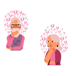 flat old elderly woman man thinking set vector image
