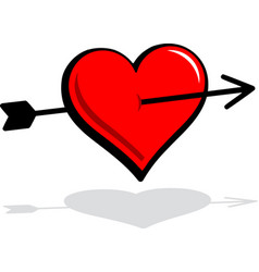 floating heart with arrow graphic vector image