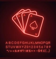 Four aces neon light icon vector
