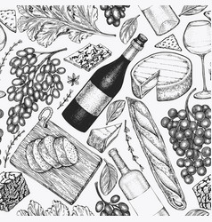 french food seamless pattern hand drawn picnic vector image