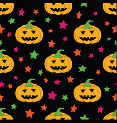 Fun halloween creepy pumpkins seamless pattern vector
