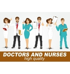 Group doctors and nurses set vector