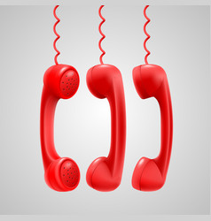 hanging red handsets vector image vector image