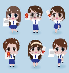 Happy kids in uniform cloths holding certificates vector