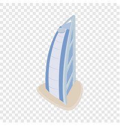 Hotel burj al arab isometric icon vector