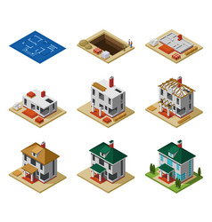 house construction phases isometric set vector image