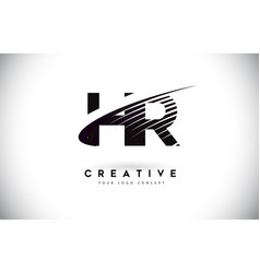 Hr h r letter logo design with swoosh and black vector