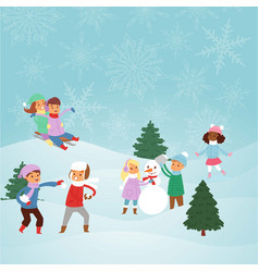 kids playing with snow outdoors in park vector image