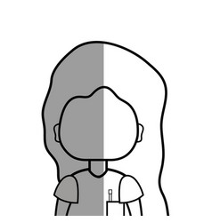 Line woman with hairstyle and blouse vector