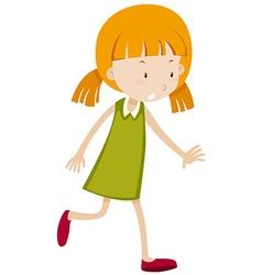 Little girl in green reaching vector
