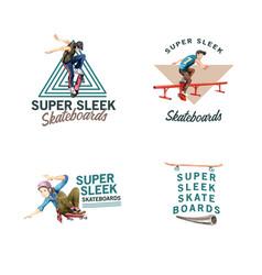 Logo with skateboard design concept for brand vector