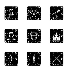 Medieval knight icons set grunge style vector image