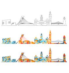 montreal skyline design set vector image
