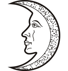 Moon with face heraldic sybol and tattooblack vector
