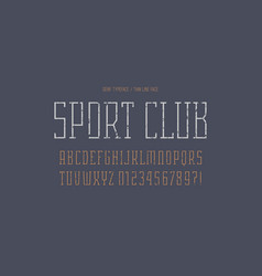 Narrow serif font in the sport style vector
