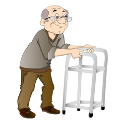 Old man using a walker vector