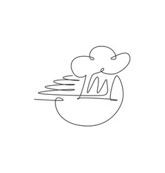 one continuous line drawing chefs hat or cap vector image