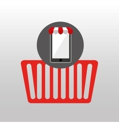 online shopping red basket design vector image