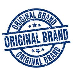 Original brand blue round grunge stamp vector