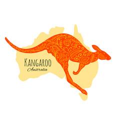 Ornate kangaroo sketch for your design vector