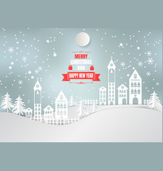 paper art style city for christmas season with vector image