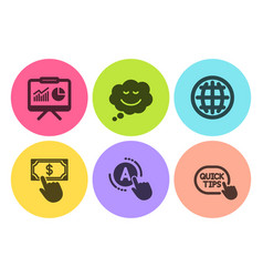 payment click ab testing and globe icons set vector image