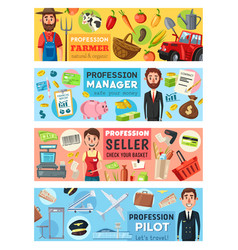 pilot cashier manager and farmer professions vector image