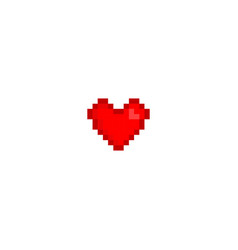 Pixel art love icon design red heart in art vector