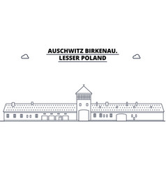 Poland - auschwitz birkenau travel famous landmark vector