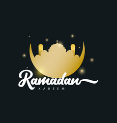 Ramadan kareem gold logo template design vector
