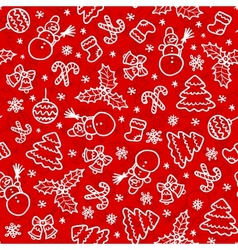 Red christmas seamless pattern in cartoon style vector image