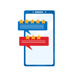 Review rating bubble speeches on smartphone vector