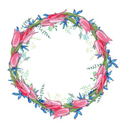 Round garland with spring flowers tulips and and vector