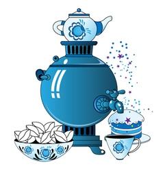Samovar with tea cup cake vector image