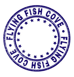 scratched textured flying fish cove round stamp vector image