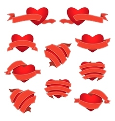Set of Heart and Ribbon Red vector image