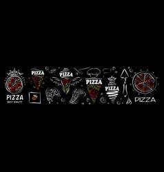 set pizza logos on black background vector image