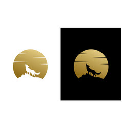 Silhouette beauty howling wolf and golden moon vector
