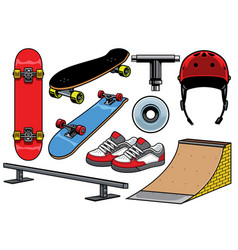 Skateboard objects set vector