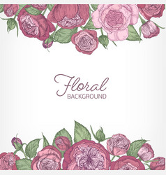 Square romantic floral backdrop decorated vector