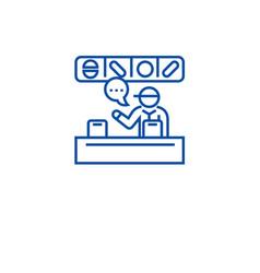 supermarket cashier line icon concept supermarket vector image