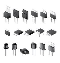 transistors set isolated on white background vector image