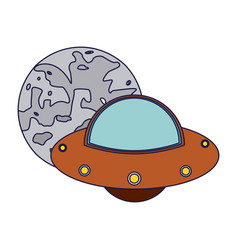 Ufo flying around moon vector